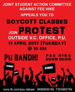 Protest against fee hike