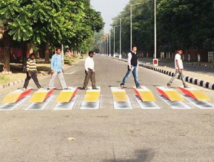 Chandigarh 3D zebra crossing