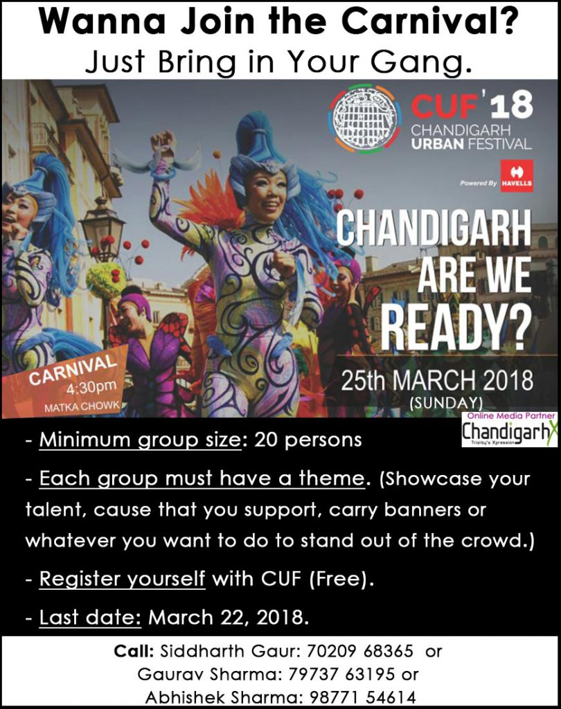It's Our City Our Celebration with Chandigarh Urban Festival (CUF'18